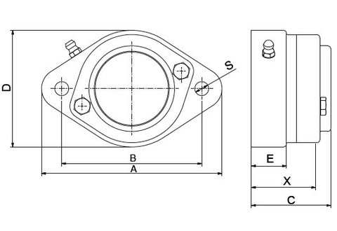 NG-Teknik 2 Hole Bearing Drawing